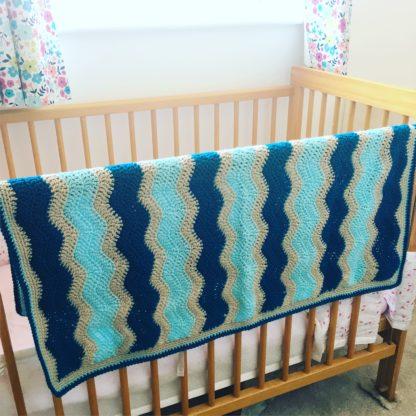 Blue Ripple cot blanket, pram blanket, camper van blanket, blue baby blanket