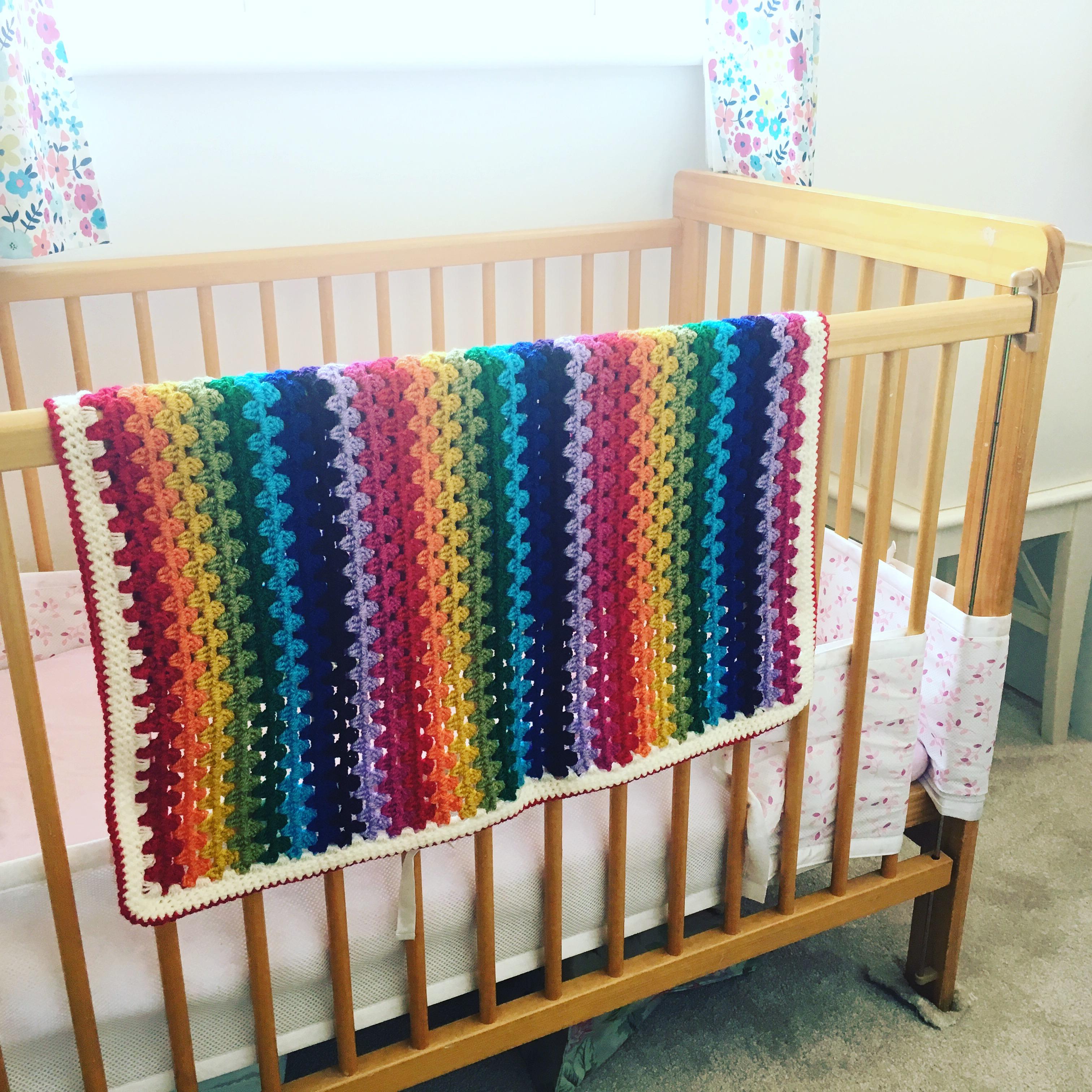 Rainbow Granny Stripe car seat blanket, acrylic baby blanket, crocheted baby blanket