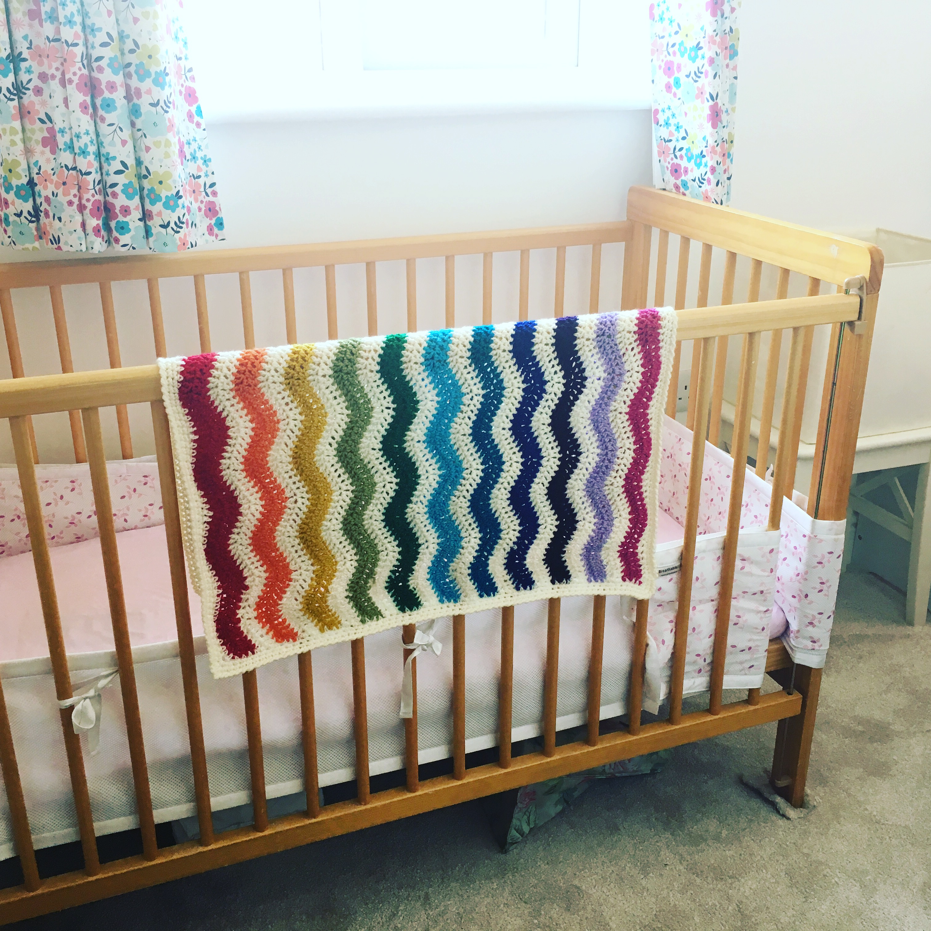 Rainbow ripple car seat blanket, Comforter blanket, Rainbow baby blanket