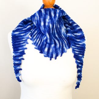 Gradient blue scarf, hand dyed merino wrap