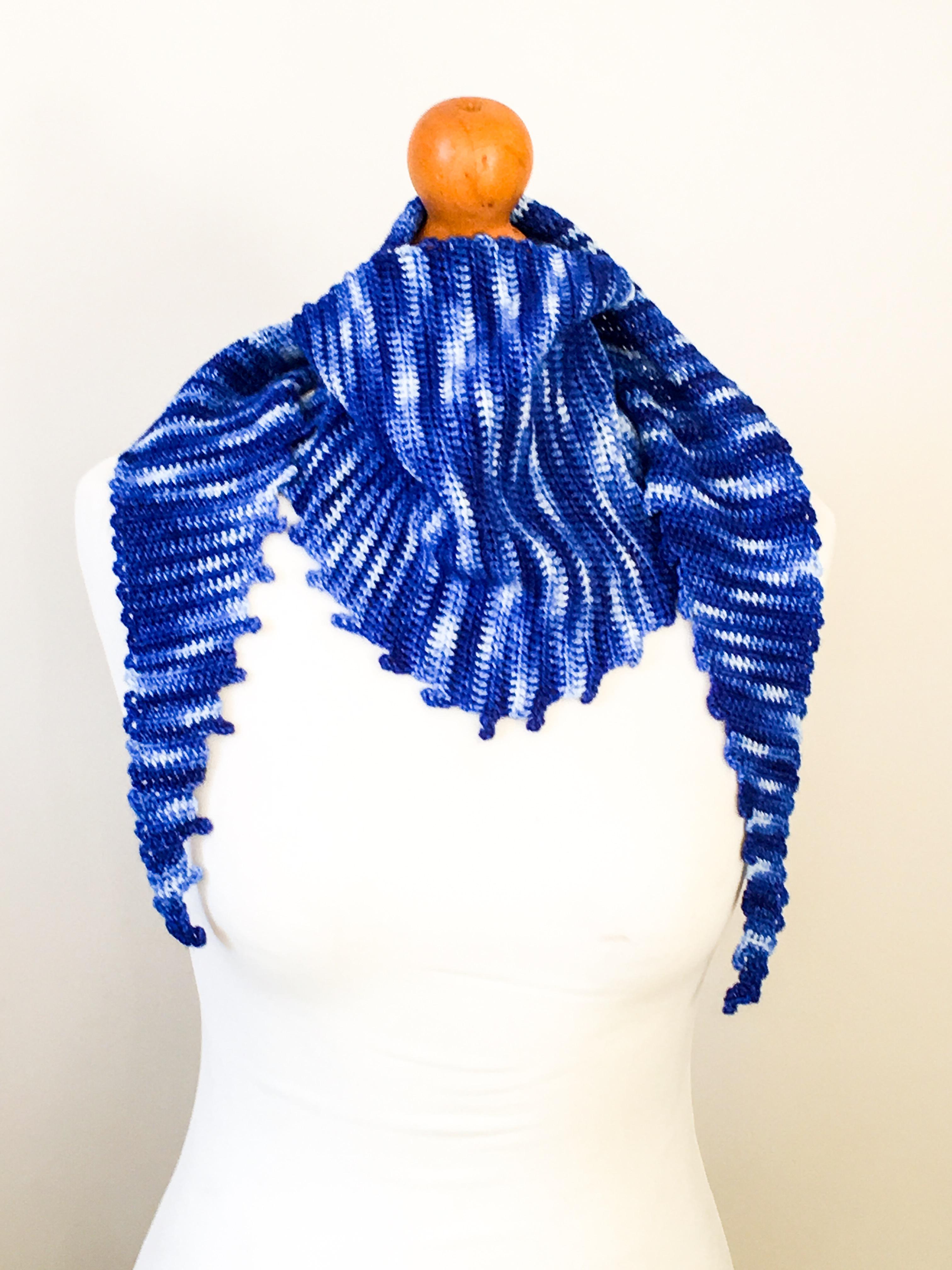 Gradient blue scarf, hand dyed merino wrap