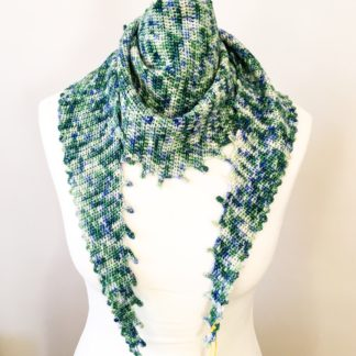 Merino 4 ply variegated scarf, green crocheted scarf, hand dyed yarn