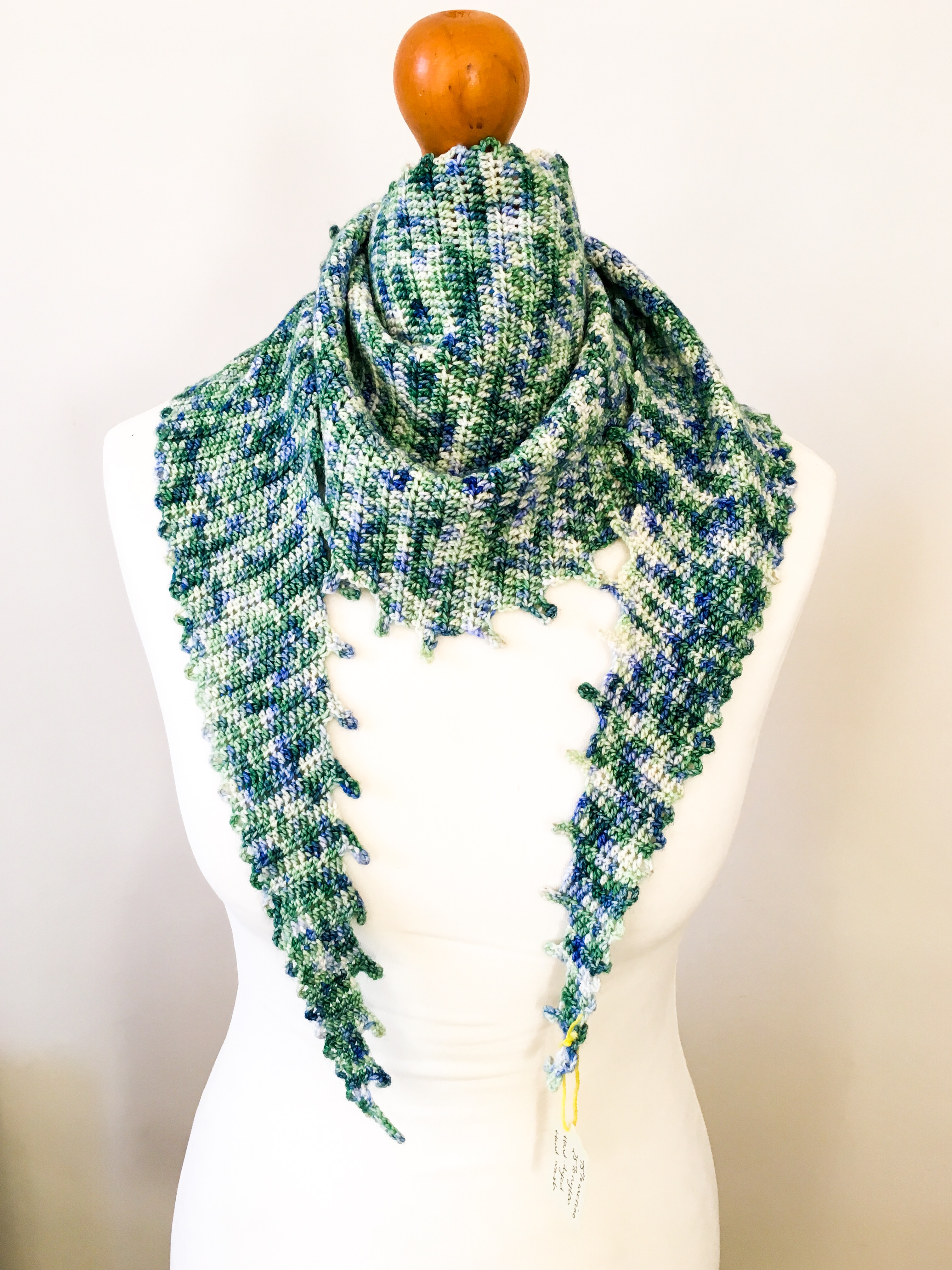 Merino 4 Ply Variegated Scarf Green Crocheted Scarf Hand Dyed Yarn