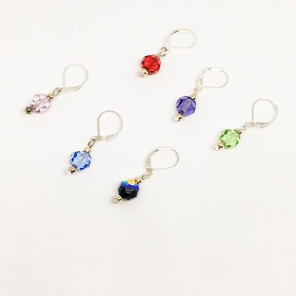 Round Swarovski stitch markers, knitting crochet markers, row counters, set of 6,
