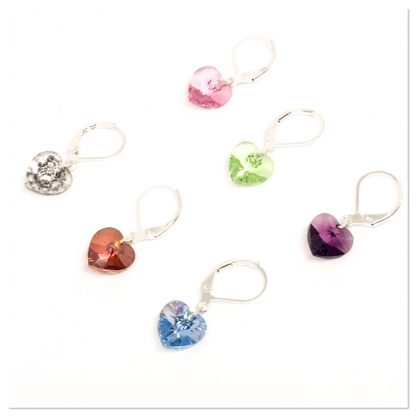 Swarovski heart stitch markers, knitting markers, crochet markers, row counters, set of 6