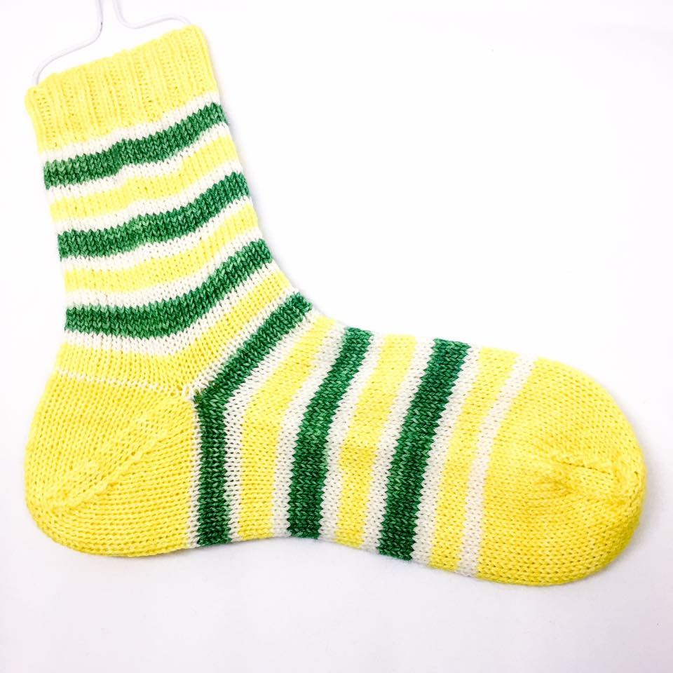 Hand dyed knitted stripy socks, Daffodil, merino socks, Size 5-7