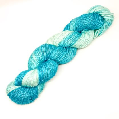Turquoise gradient yarn, hand dyed sock yarn, sparkly or plain, 100g