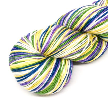Stripy sock yarn, 4 colour merino self striping 4 ply, hand dyed