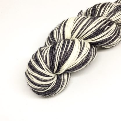 Monochrome stripy sock yarn, 100g self striping sparkly sock yarn, 4 ply hand dyed stripy yarn, black and white