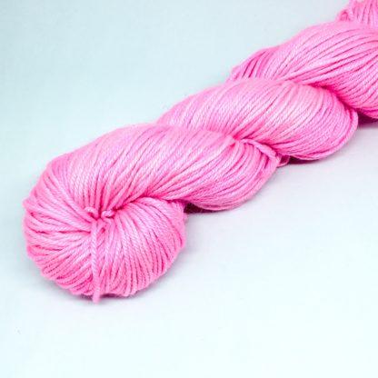Pink merino silk DK, 50% silk blend yarn, hand dyed DK, semi solid