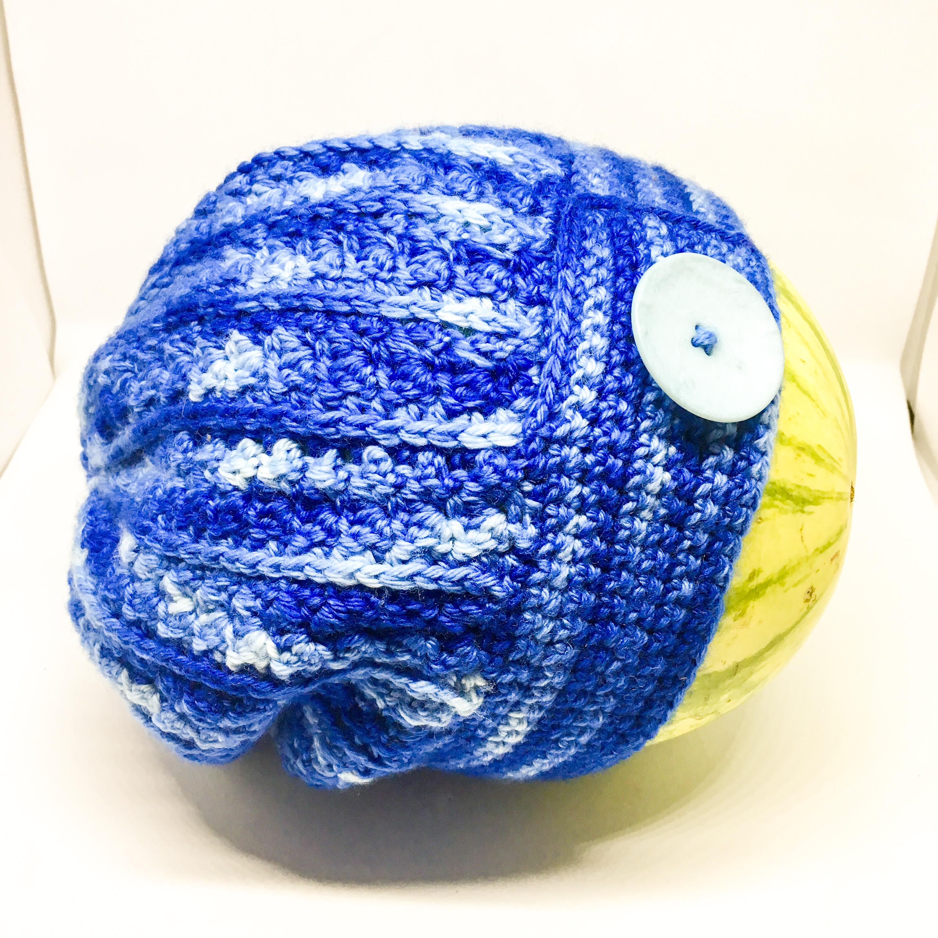 Crocheted merino slouch hat - Blue - hand dyed DK yarn