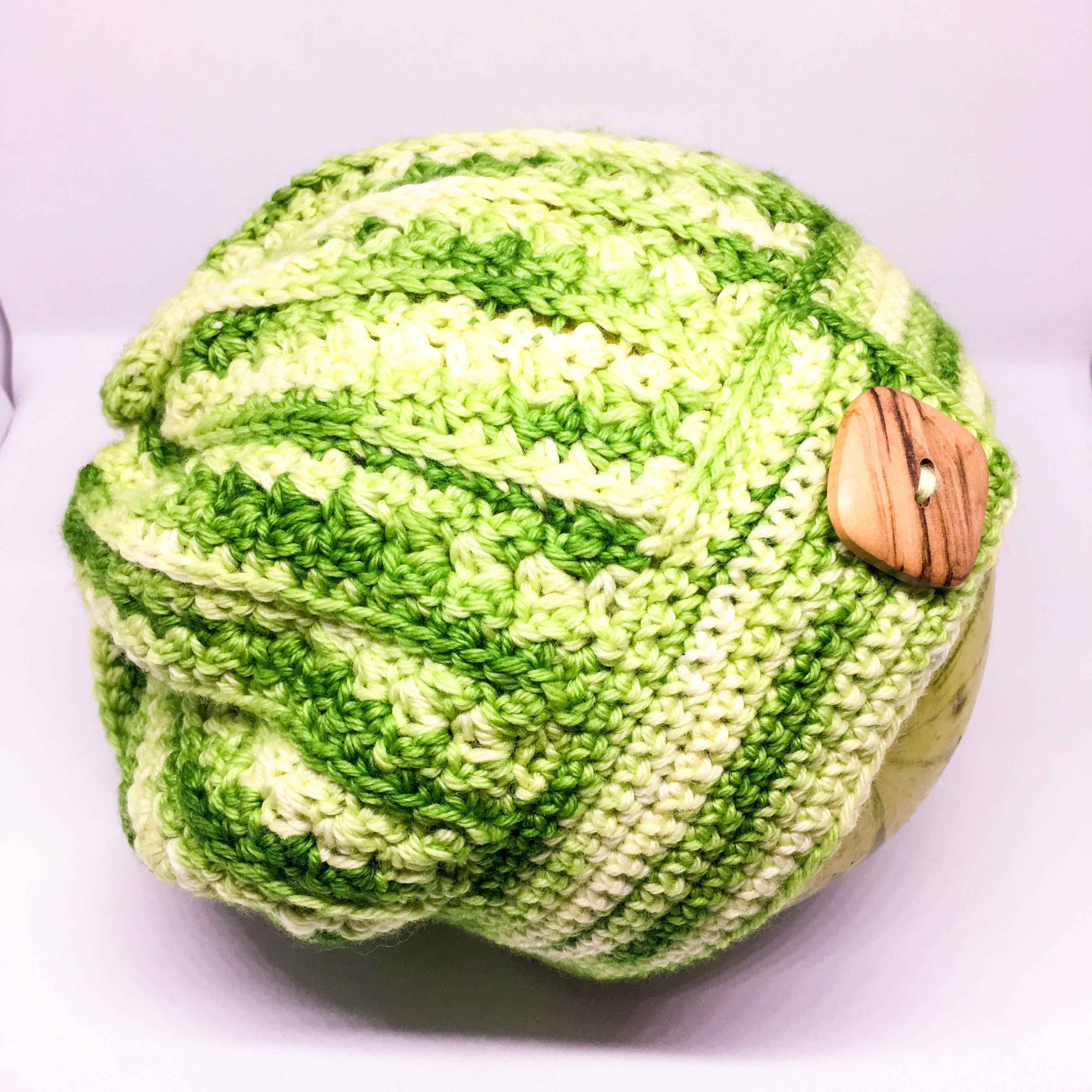 Merino crocheted slouch hat - Green, hand dyed DK 100% merino