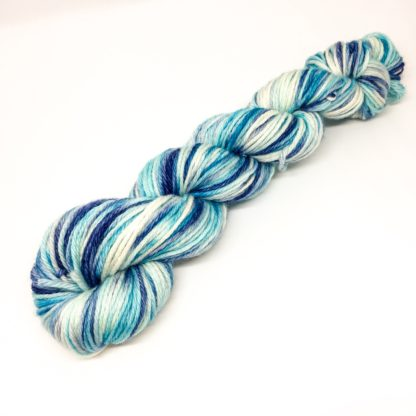 Hand dyed DK, 100% merino patch dyed yarn, blue tones DK