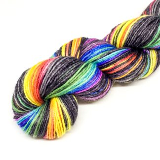 Hand painted rainbow yarn, grey and rainbow 4 ply, hand dyed merino yarn