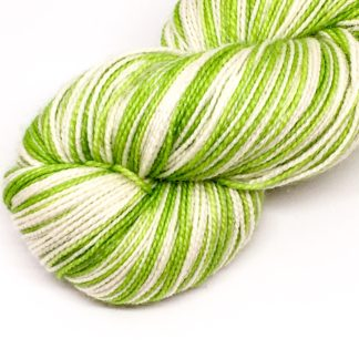 Self striping green sock yarn, sparkly merino and nylon 4 ply, 100g green stripy yarn, hand dyed sock yarn