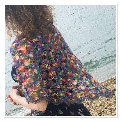 Rainbow shawl, merino rainbow wrap, festival wear