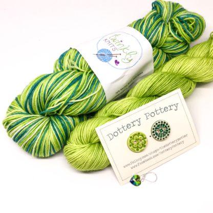 May stripy sock box, mystery 4 ply yarn and treats, 150g merino nylon yarn *pre order*