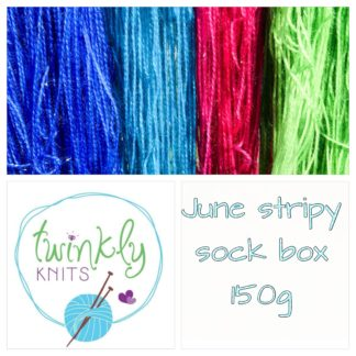 June stripy sock box, 4 ply yarn and treats, 150g merino nylon yarn