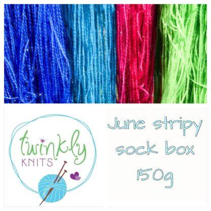 June stripy sock box, 4 ply yarn and treats, 150g merino nylon yarn