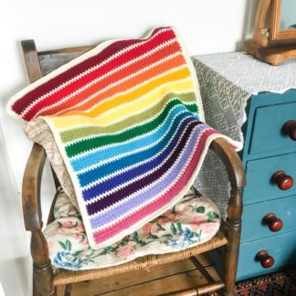 Rainbow stripe car seat square, rainbow baby blanket, stripy rainbow blanket