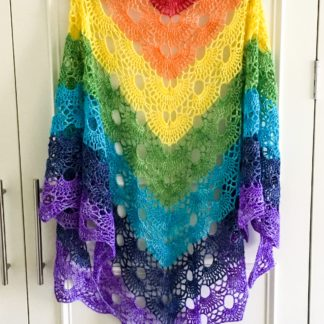 Rainbow merino wrap, sparkly rainbow shawl, festival wear, 4 ply lightweight rainbow shawl