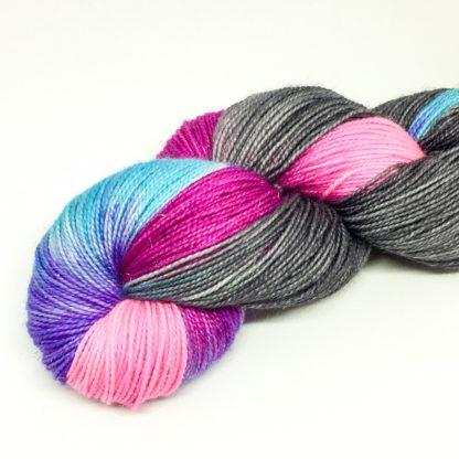 Unicorn yarn, 100g hand dyed sock yarn, merino 4 ply, grey patch dyed yarn, made to order
