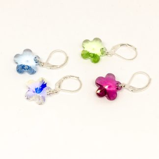 Swarovski flower stitch markers, set of 4, knitting and crochet, row counters
