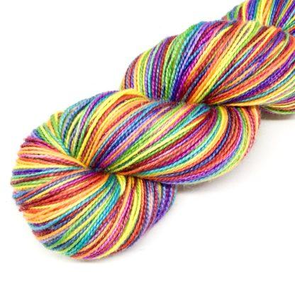 Rainbow merino yarn, bright 4 ply hand dyed yarn, rainbow sock yarn, sparkly yarn, silk yarn