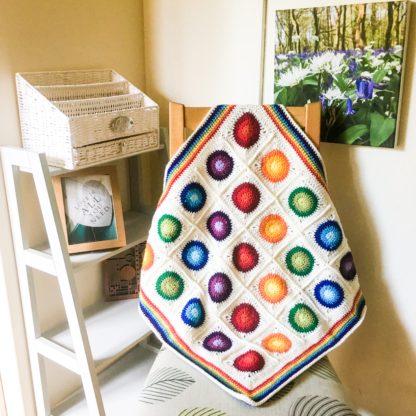Rainbow circles car seat blanket, rainbow baby blanket