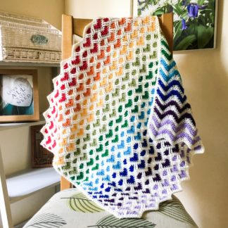 Rainbow baby heart blanket, heart pattern car seat blanket, reversible blanket, zig zag blanket