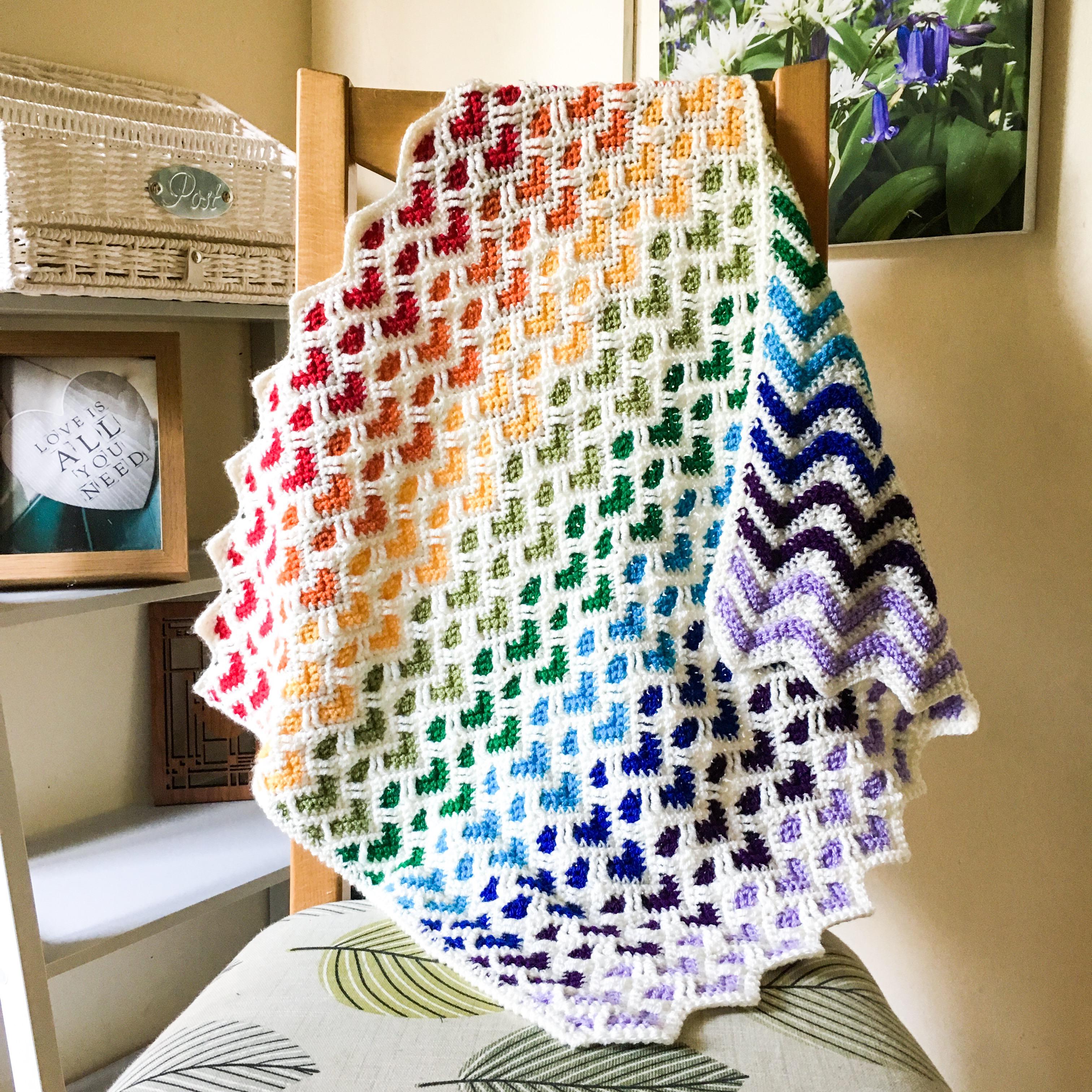 Rainbow Baby Heart Blanket Heart Pattern Car Seat Blanket Reversible Blanket Zig Zag Blanket Twinkly Knits