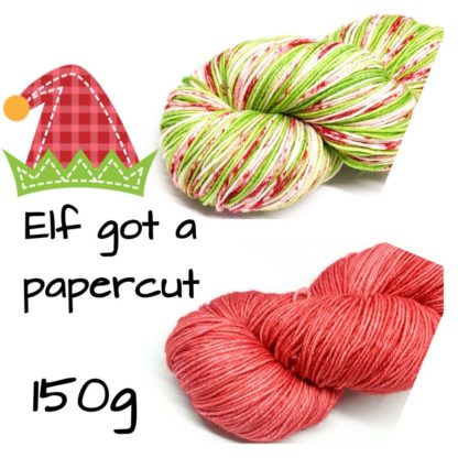 Christmas yarn box, 150g skein set, Elf got a Paper cut