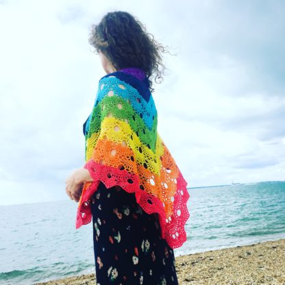 Chakra Rainbow merino wrap, sparkly rainbow shawl, festival wear, 4 ply lightweight rainbow shawl