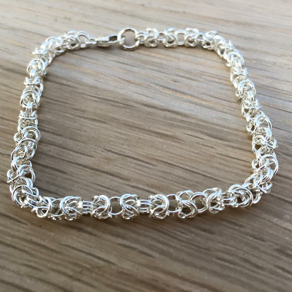 Sterling silver chain maille bracelet, Byzantine weave