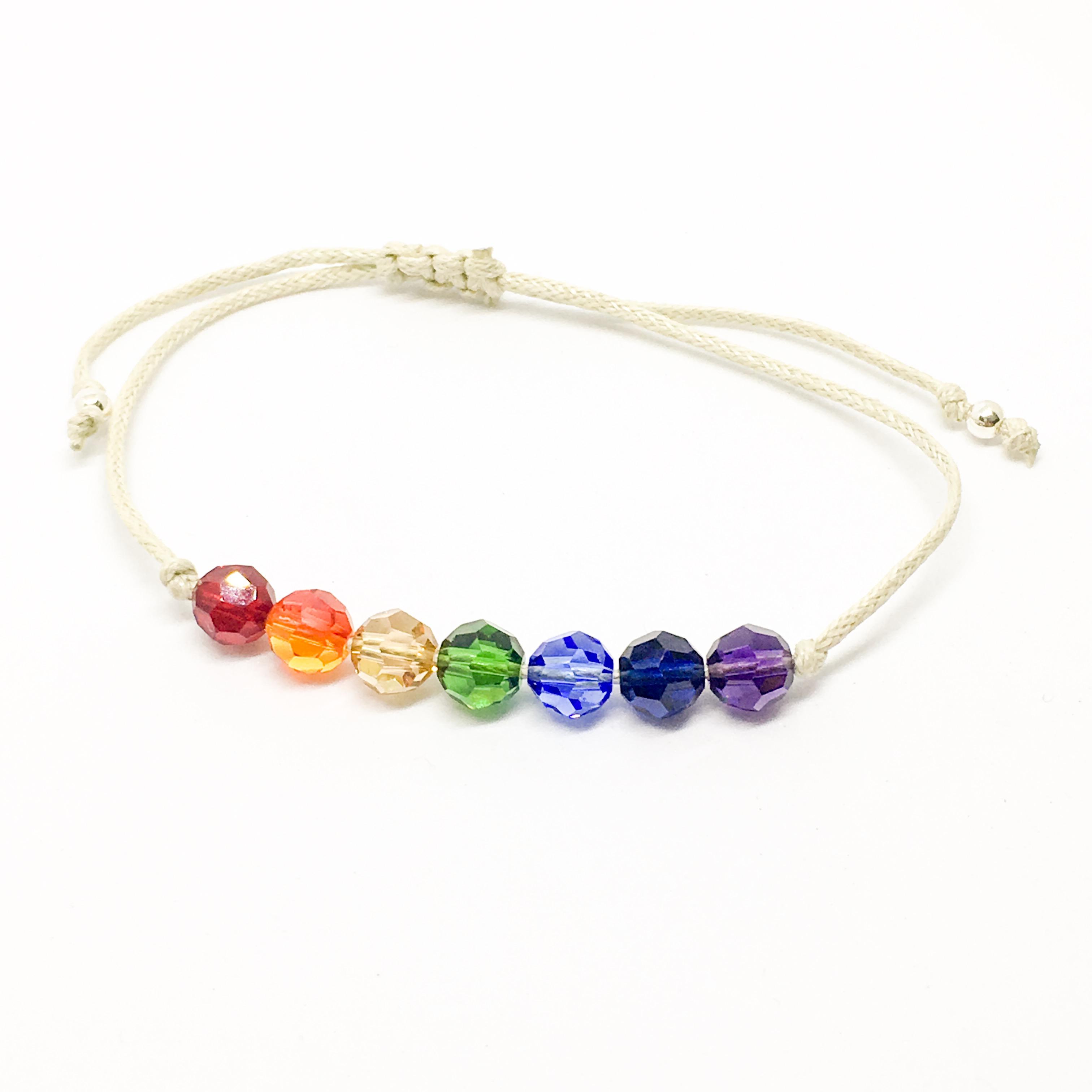 Rainbow chakra friendship bracelet, Swarovski and sterling silver