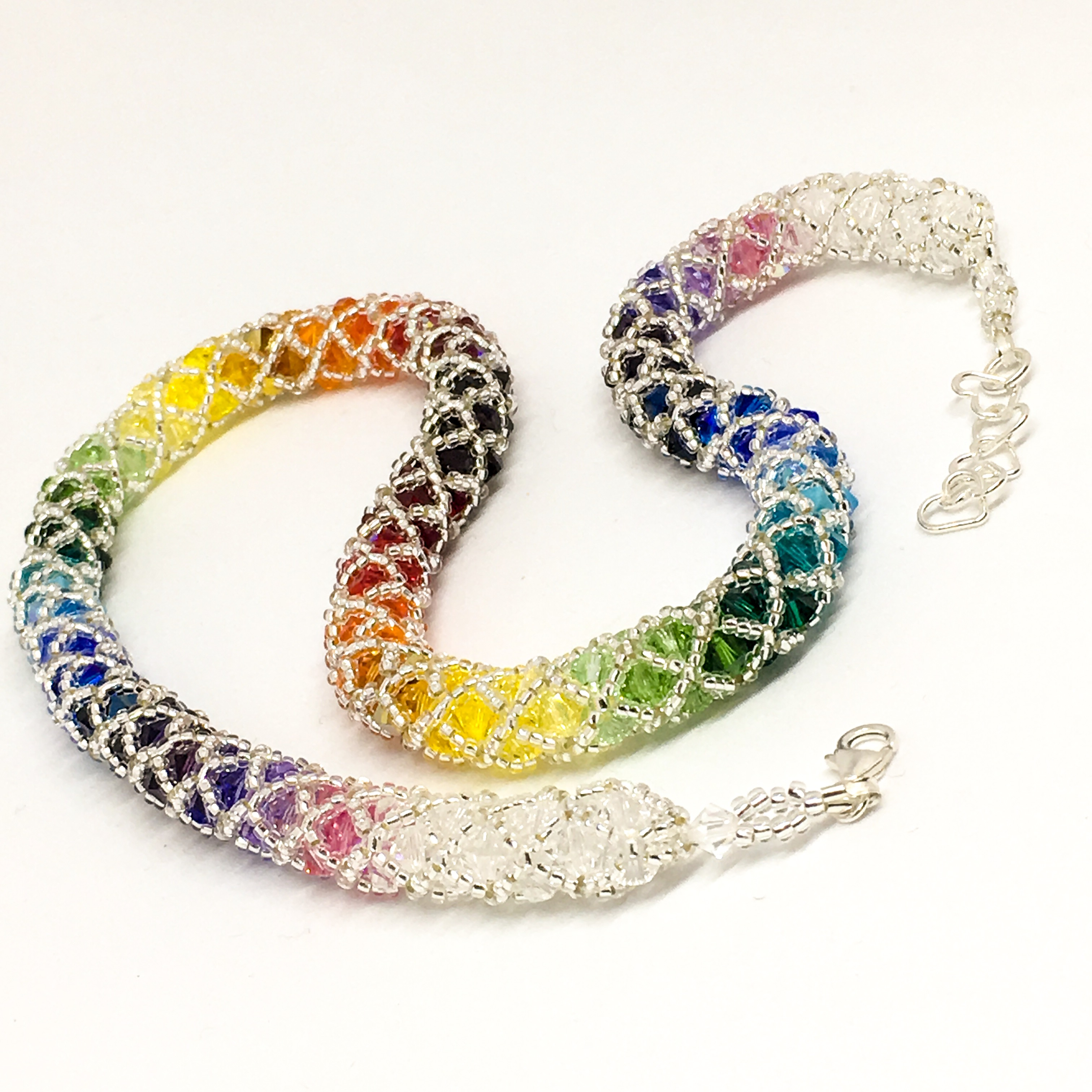 Statement rainbow Swarovski necklace, sterling silver clasp, spiral weave