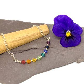 Rainbow Swarovski bracelet - sterling silver