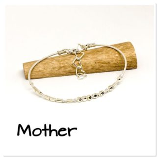Mother Morse Code bracelet, hidden message bracelet, sterling silver and leather