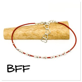 BFF Morse code bracelet, hidden message bracelet, sterling silver and leather