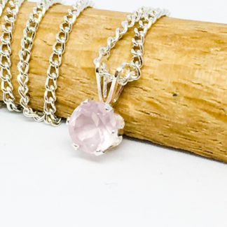 Rose Quartz pendant, dainty 6mm gemstone necklace, sterling silver