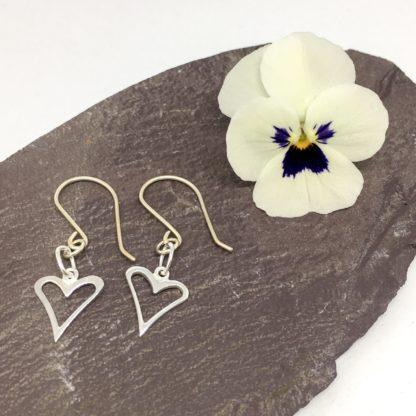 Silver heart earrings, sterling silver Wild Heart, dangly earrings