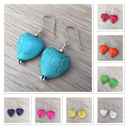 Howlite heart earrings, 16mm faux gemstones, sterling silver wires