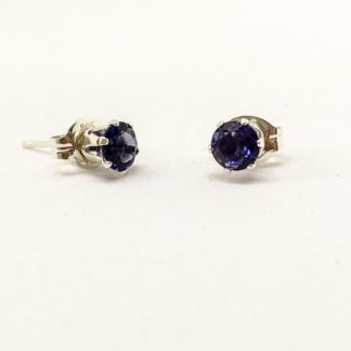 Iolite 4mm gemstone studs, sterling silver gemstone earrings
