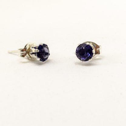 Iolite 4mm gemstone studs, sterling silver gemstone earrings