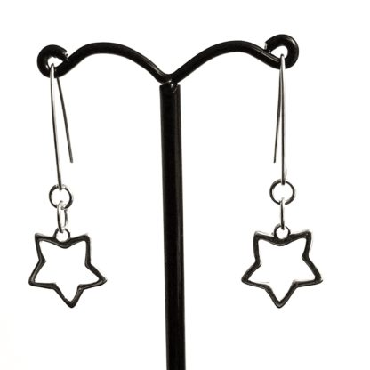 Sterling silver star earrings, dangly star earrings, star charm
