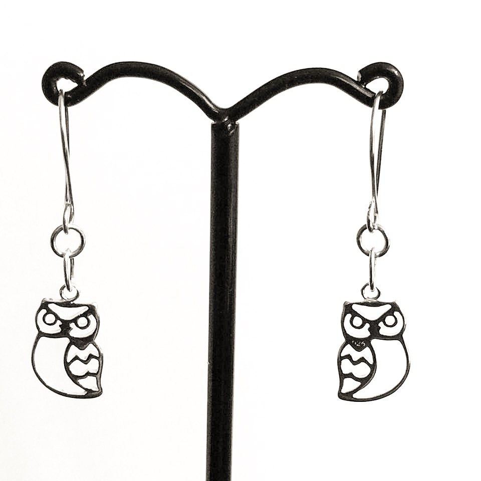 Sterling silver owl earrings, small owl charm