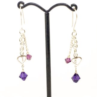Swarovski heart charm earrings, chain earrings, dangly Swarovski earrings