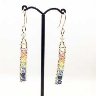 Pastel rainbow Swarovski earrings, Boho earrings, sterling silver wires