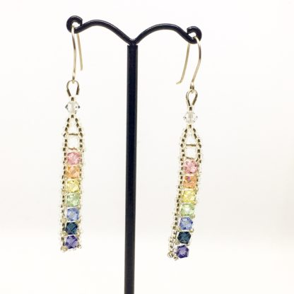 Pastel rainbow Swarovski earrings, Boho earrings, sterling silver wires