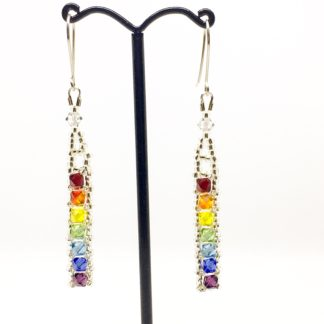 Rainbow Swarovski earrings, bright rainbow dangly earrings, Boho earrings